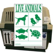 LIVE ANIMAL Handling Label 110mm x 150mm   - Rolls of 250 -  Code VLV